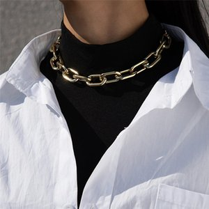 Steampunk Gold Color Plastic Chain Necklace Fashion Vintage Choker Necklace Women Unisex Gothic High Quality Neck Jewelry