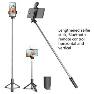 Selfie Monopods Stick Handheld Tripod,Extendable Monopod With Remote Control Fill Light Horizontal &Vertical Rotation Phone Holder