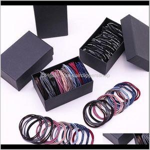 1Set Box Packed Women Elegant Colorful Basic Elastic Ponytail Holder Scrunchie Rubber Bands Headband Hair Accessories 7O8Yw Ne3Z2
