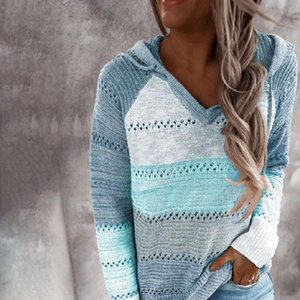 Hollow Out Striped Patchwork Womens Sweater Hooded Sweaters Women Fashion Autumn Loose Pullover Ladies Casual Knit Jumpers T2G