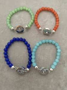 Wholesale Gemstone Snap Bracelets Стиль Стиль Женские Стринги Мода Натуральный Камень Браслет Бусина Ювелирные Изделия Подходит 12 мм Кнопка Snap Chark