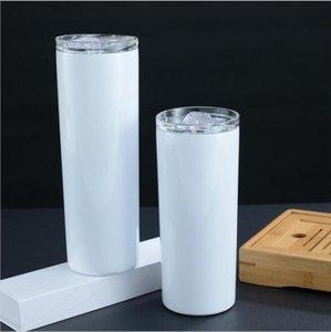20 oz 30oz Sıska Tumblers Boş Süblimasyon Ince Fincan Kahve Kupalar Kapaklı ve Plastik Hasır Bira Kupa Deniz Kargo DGHH