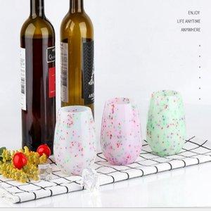 301-400ml Colorful Silicone Vine Coupe de vin Antiskid Drop Haute grade Rouge Verre Verre Verre Bouteille d'eau en plein air Camping en plein air Coupe de la bière Whisky Boissons JJA53
