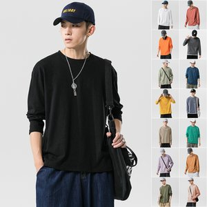 Spring Cotton Long Sleeve T-shirt Men's Loose Trend Large Size Solid Color Simple Casual Round Neck Top