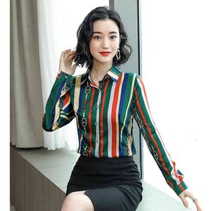Nuove 2020 Camicie da donna in raso di seta da donna Plus Size Manica lunga Collo a risvolto Stampato Stampato Bottone Blouse Sexy Sexy Slim Designer Designer Tops