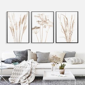 Dried Flower Plant Reed Wheat Nordic Farmhouse Poster And Print Wall Art Canvas Painting For Living Room Home Decor Picture Paintings