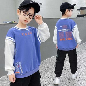 Teenage Boys Letter Print Sweatshirt Children's Pullover 2021 Spring Boys' Casual Sports Long Sleeve Boys' Top 5 6 7 8 9 10 12 Y G0917