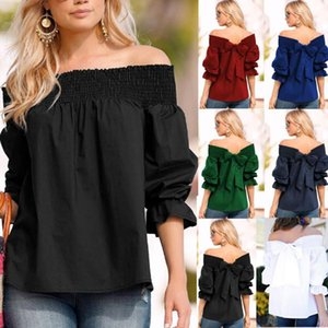 Shirts Plus Size Shoulder Tops Blusa Feminina Women Blouse 2021 Summer Strapless Bowknot Slash Neck Casual Loose Celmia Sexy Off
