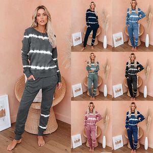 Leisure Suits 210528 Pajama Set Tops+Pants 2 Piece Sets Autumn Winter Long Sleeve Solid Women Tracksuit Fashion Print-striped Women