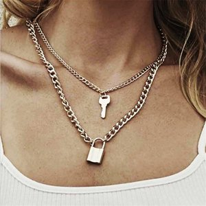 Fashion Key Padlock Pendant Necklace For Women Gold Silver Color Lock Layered Chain On The Neck With Punk Jewelry Necklaces