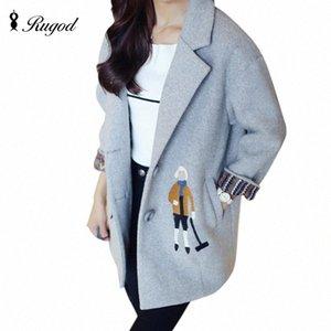 Rugod 2018 Spring Winter Warm Wool Coat Female Sweet Cartoon Embroidery Cotton-padded Lining Coat Women Jacket Casaco Feminino F2ui#