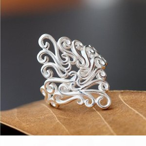 Fashion New Vintage Carving 925 Sterling Silver Filled Hollow Out Big Ring Ladies Finger Jewelry Gift
