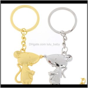 Keychains Fashion Accessories Drop Delivery 2021 Exquisite Cute Year Keyring Cartoon Mouse Keychain Ancient Sier Color Rat Key Chain Gift For