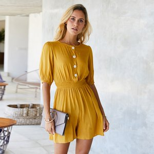 Women Loose Short Sleeve Jumpsuits Round Neck Button Elastic Waist Yellow Romper Solid Elegant Casual Overall Jump suit
