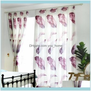 Deco El Supplies Home Gardenmodern Minimalist Curtains Finished Gray Feathers European-Style For Living Dining Room Bedroom Curtain & Drapes