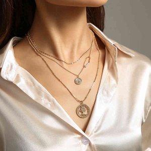 Head Ins Fashion Coin Beauty Multi Layer Clavicle Neck Chain Chaoren Street Po Personalized Versatile Necklace Accessories
