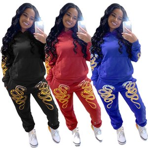Designer womens two piece set shirt pants outfits long sleeve sweatsuit pullover tights sportswear hot Girl Printed Top