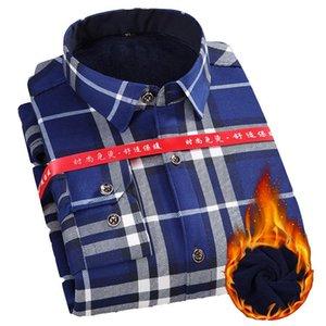 Men's Casual Shirts Camisa Slim Winter Men Long Sleeve Outerwear Plaid Thick Liner Flannal Mens Camisas Hombre Manga