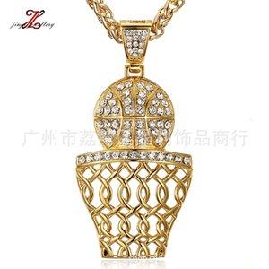 Hip Hop Jewelry Sports Trend Trend Tendenza in oro placcato oro diamante Pallacanestro telaio in acciaio inox hiphop Ciondolo in acciaio inox