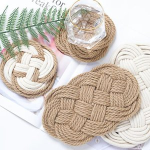Mats & Pads Creative Handmade Heat Insulation Cup Pad Non-slip Nordic Style Placemat Rattan Thread Jute Cross Table Mat For Home
