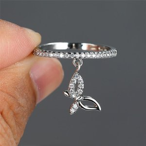 Wedding Rings Luxury Female Crystal Butterfly Pendant Ring Trendy Gold Silver Color Engagement Charm White Zircon For Women