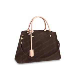 2021 حقيبة يد النساء حمل حقيبة حقائب crossbody إمرأة تجميل أكياس شولر محفظة الأزياء السرج حقيبة الظهر براون زهرة الجلود 41055 33/23/15 سنتيمتر # MTB01