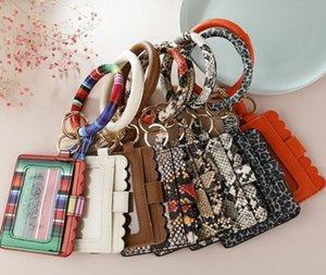 Party Favor Leopard Print PU Leather Tassel Pendant Bracelet Ladies Keychain Wallet Mobile Phone Bag Card package Business holder