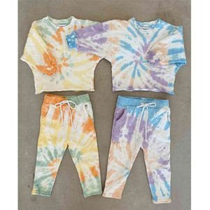 Autumn Baby Girls Clothes Long Sleeve Tie Dye Print Pullover Sweatshirt+Long Pants Toddler Kids Children Tracksuits Clothing Set X0401