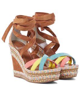 Summer Sandals High Heels Red bottom Wedge platform shoes,Luxury Paris Women sandal Lagoadonna 120mm Suede strap Espadrille Wedges In Brown