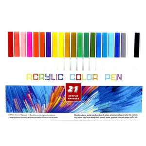 21 Colors Permanent Acrylic Paint Marker Pens for Fabric Canvas Art Rock Painting Card Making Metal and Ceramics Glass Paint Pen 210902