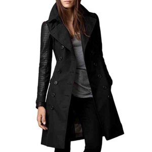 Trench Coat Women Black Autumn Patchwork Western Double-Breasted Mid-Length Fashion Long Slim Woolen Outerwear Overcoats Tops