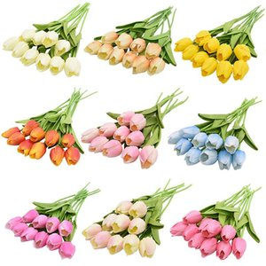 Decor 5 10 20pcs Tulip Artificial Flower Real Touch Bouquet Fake For Home Gift Wedding Decorative Flowers & Wreaths