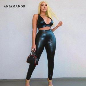 Черная искусственная кожа глубокий V урожай вершины и брюки двух частей набор сексуальные клубные наряды для женщин Соответствующие комплекты D16-DC40 женские трексуиты