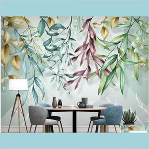 Wallpapers Home Décor & Garden Nordic Tropical Wallpaper Watercolor Leaf Mural Hand Painted Creative 3D Wall Paper Geometric Murals Co