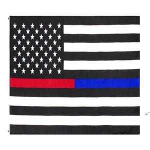 3x5FTs Amerikanische dünne rote und blaue Dual-Linie-Flagge für Polizeibeamte Feuerwehrmänner-Responkern OWE5581