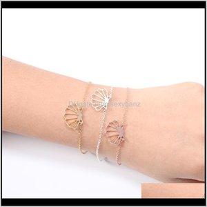 Charm 30Pcs Geometric Origami Sea Clam Shell Bracelet Nautical Ariel Mermaid Conch Seashell Chain Bracelets Bangles For Ocean Beach Pa 1Wbbk