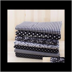 Clothing Apparel Drop Delivery 2021 7Pcs 50Cm X48Cm-50Cm Plain Thin Patchwork Cotton Dobby Fabric Floral Series Blue Charm Quarters Bundle Se