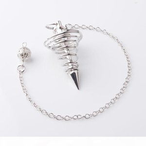 WOJIAER Silver Metal Pendulum Pendulo Radiestesia Pendulums for Dowsing Spiral Cone Antique Pyramid Pendule Reiki Jewelry DN8150