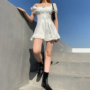 Женщины мода элегантный лук белый женский мини-платье лето вечеринка фестиваль рождения милый сексуальный французский романтический шелк 210513