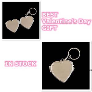 Sublimation heart key chains with two mirrors creative gift hand keyrings DIY Valentine's Day gift new fashion trendy ornament HWE9810