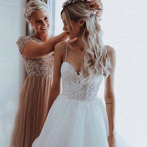 Other Wedding Dresses Backless A-line Spaghetti Straps Tulle Appliques Lace Dubai Arabic Gown Bridal Dress Vestido De Noiva