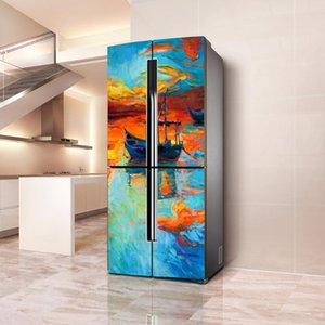 Adesivos de parede 3d frigorífico casa arte tampa tampa papel de parede adesivo frigorífico envoltório congelador decoração de pele de cozinha acessórios de cozinha
