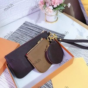 Fashion womens clutch bag classic letter printing coin top ladies bags three-piece high quality lady passport purse luxury brand