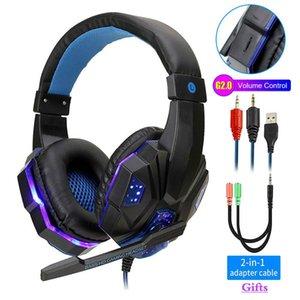 전문 LED 가벼운 게임 헤드폰 컴퓨터 PS4 조정 가능한베이스 스테레오 PC 게이머 마이크 선물 (소매)과 유선 헤드셋을 통해