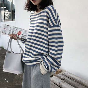 Hoodies Women Harajuku Gothic Stripe Cotton Clothes Autumn Long Sleeve Loose Kawaii Korean Thin Kpop Tops