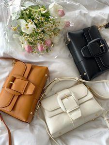 Fashion all-match leather shoulder bags retro simple solid color Women's purse chain cream bag Crossbody handbag