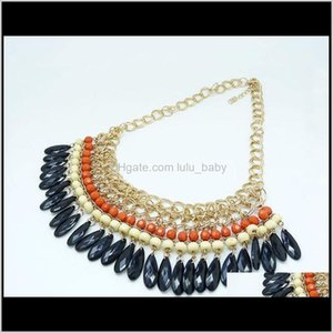 Chokers Fashion Chocker Necklaces Gold Plated Layered Gems Wood Beads Tassels Necklace Jewelry For Women Gifts 6603W 7Ybkn