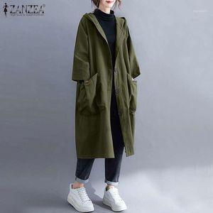 Casual Fashion Hooded Coats ZANZEA Korean Solid Windbreakers Female Single-breasted Pockets Womens Autumn Long Trench Plus Size1