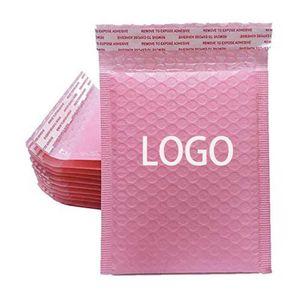 Packing Bags 50 PCS Bulk Custom LOGO Printed Biodegradable Bag Light Pink Bubble Mailer Courier Packaging Padded Envelope