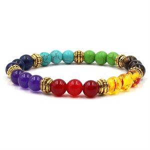 8mm fdh4 mulitcolor rainbow elastic Lava Natural Stone Beads agate Onyx Bracelet Buddha turquoise lapis lazuli Jewelry 127 W2
